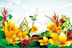 Gorgeous abstract flowers vector