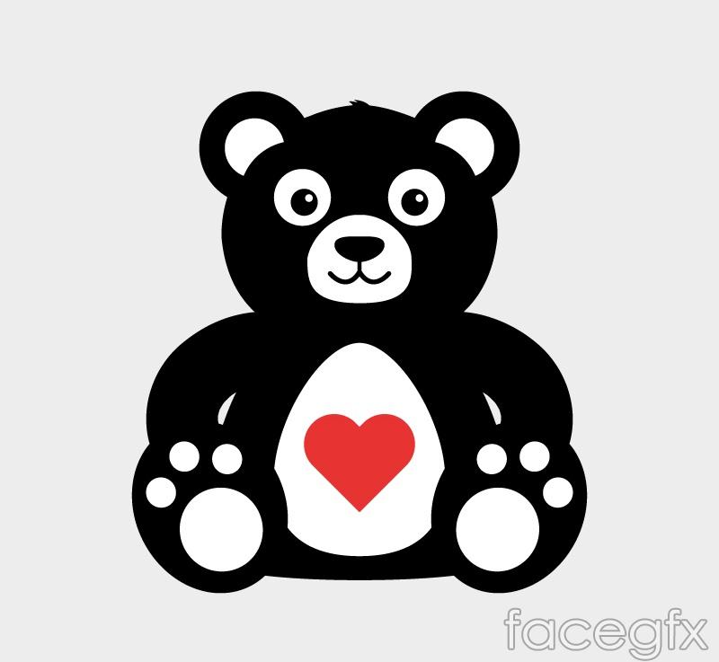 Teddy bear cartoon love vector | Free download