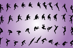 Creative men jumping silhouette vector