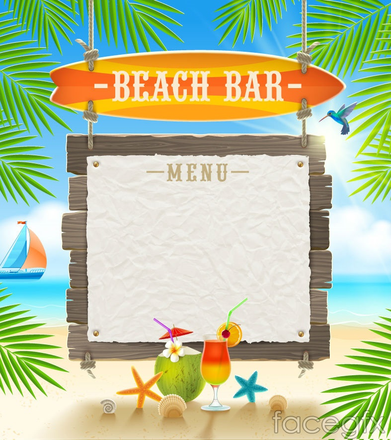 Beach Bar Menu Background Vector Free Download