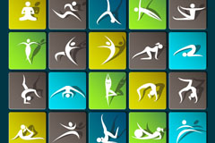 25 beautiful Yoga icon vector