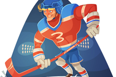 Cartoon ice hockey player vector illustration
