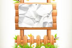 Fold paper wooden billboards vector
