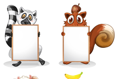 4 blank Board cartoon animals vector