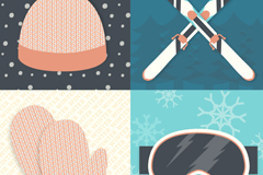 4 winter ski equipment vector