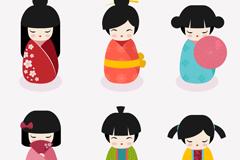 6 cute Japan Doll design vector