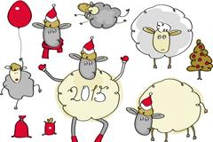 6 handpainted sheep design vector