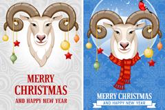 Cartoon sheep head Christmas banner vector