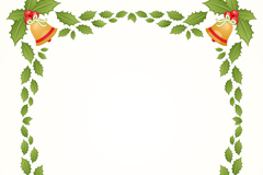 Christmas border bells and mistletoe vector
