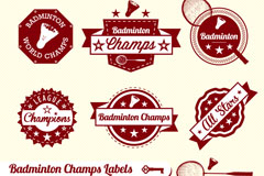 Exquisite badminton tag vector
