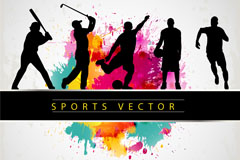 M-sports people silhouette vector background