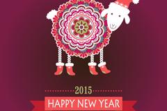 New year cartoon pattern sheep vector background