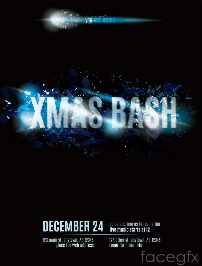 cool christmas party poster vector cool christmas party poster vector