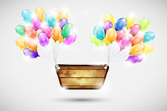 Colorful balloons decorated wooden sign vector