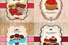 Cute dessert food card vector