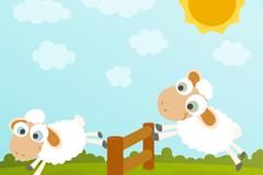 Jumping sheep cartoon vector