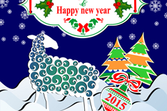 Sheep Christmas new year poster vector