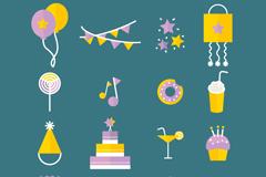 16 birthday element icon vector