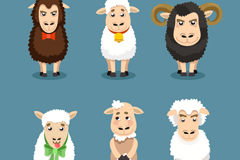 6 section of cartoon nose sheep, vector