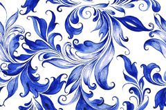Blue watercolor flowers seamless vector background