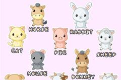 Cartoon animal alphabet vector