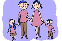 Cartoon family of four vector