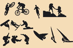Outdoor sports silhouettes vector