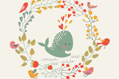 Summer whale vector illustration