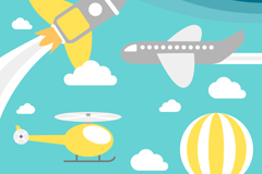 4 cartoon flying device background vector