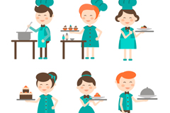 6 cartoon chefs and waiters vector