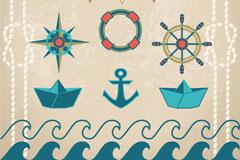 6 vintage nautical element vector