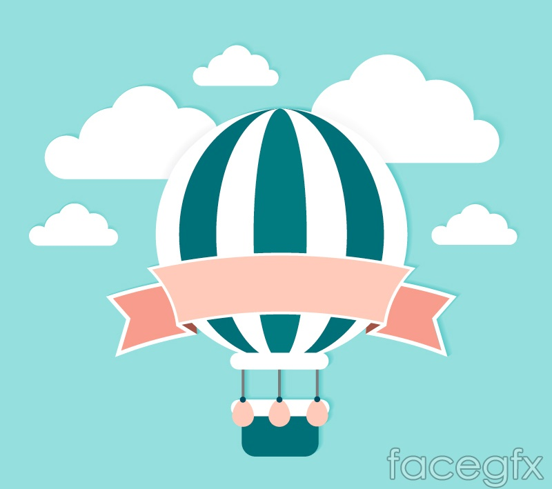 Fresh and hot-air balloon ribbons of clip art vector | Free download