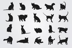 20 black cat silhouette vector