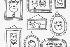 Hand painted bear family photo wall vector