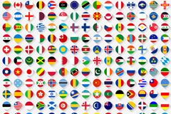 In 220 countries and territories flag icon vector