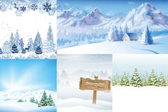 5 winter snow-vector illustration