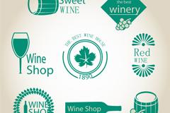 8 green wine label vector