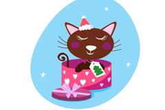Cute cat gift box vector