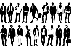 Stylish men's silhouettes vector