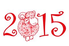 2015 red sheep greeting card vector