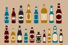 30 retro glass bottles designed vector
