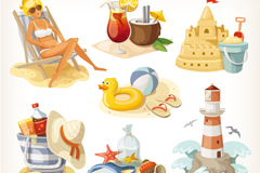 7 Holiday Beach design elements vector