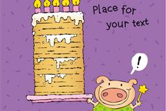 Birthday card wishing pig vector illustration