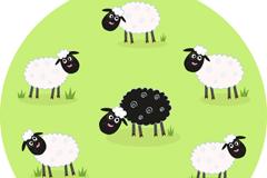 Cartoon sheep eating grass vector
