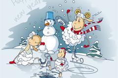 Cute sheep and snowman vector