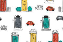 Opening painting the doors and car background vector