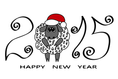 Cartoon gray sheep new year greeting cards, vector