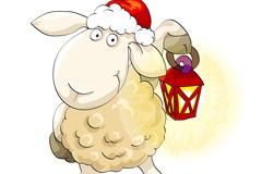 Cartoon lamp sheep vector