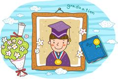Cartoon boys graduation photo vector