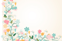 Watercolor floral border background vector